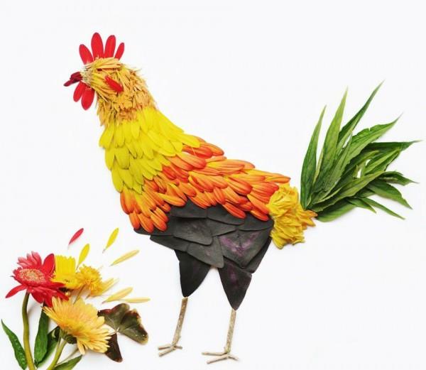 pássaros, flores