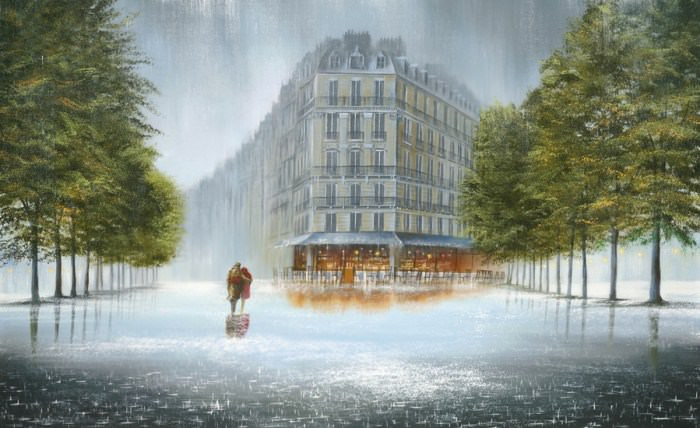 Lindas pinturas sobre a chuva