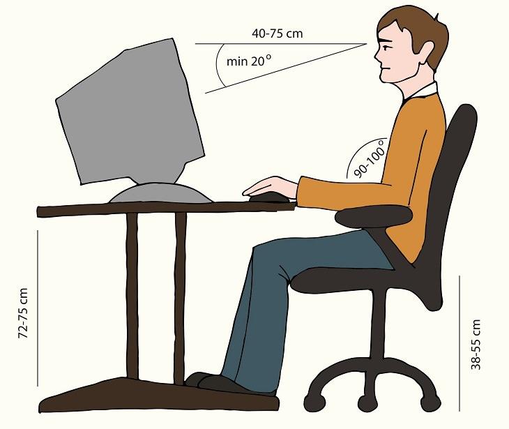 como sentar na frente do computador
