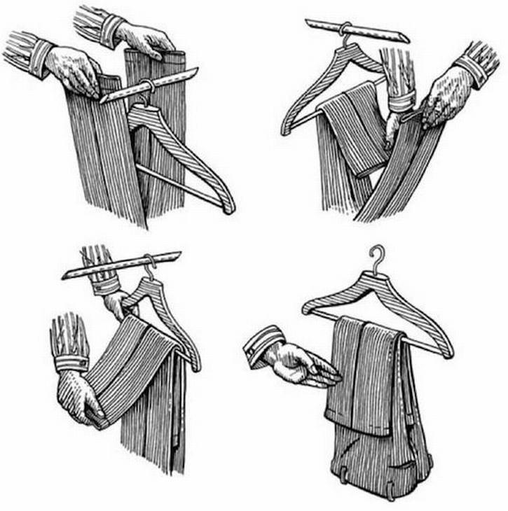 dobrar roupas - calças em cabides