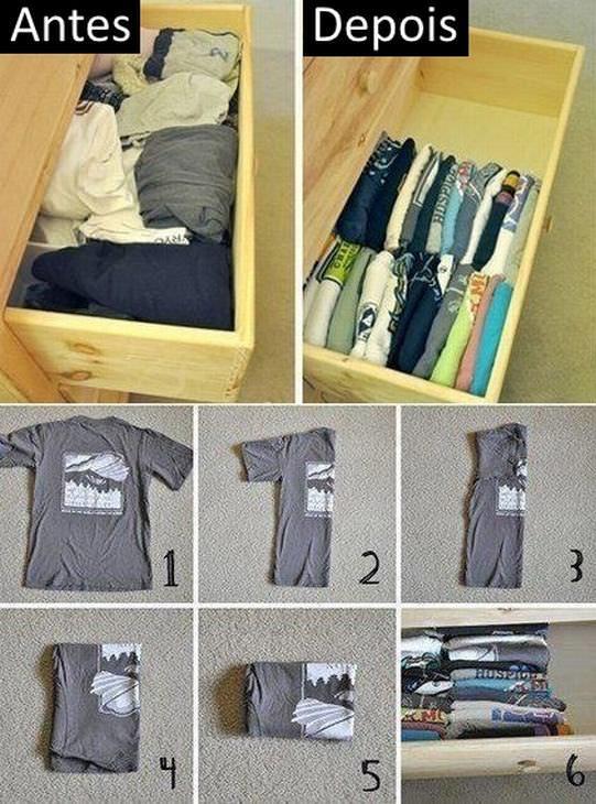 dobrar roupas - camisetas na vertical