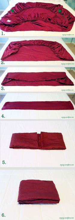 dobrar roupas - lençol de elástico