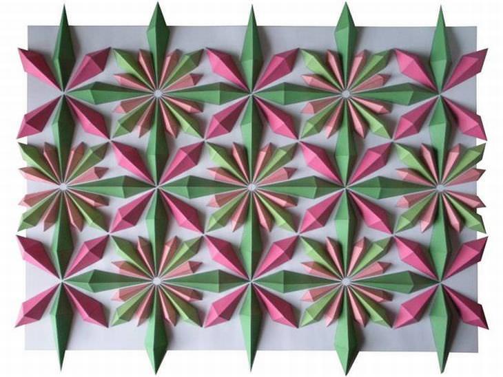 mosaicos de origami de Kota Hiratsuka