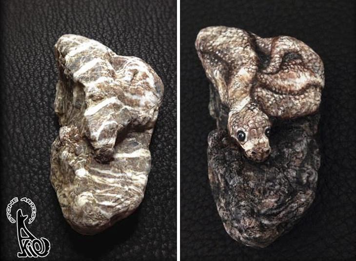 A arte de Akie Nakata usando pedras