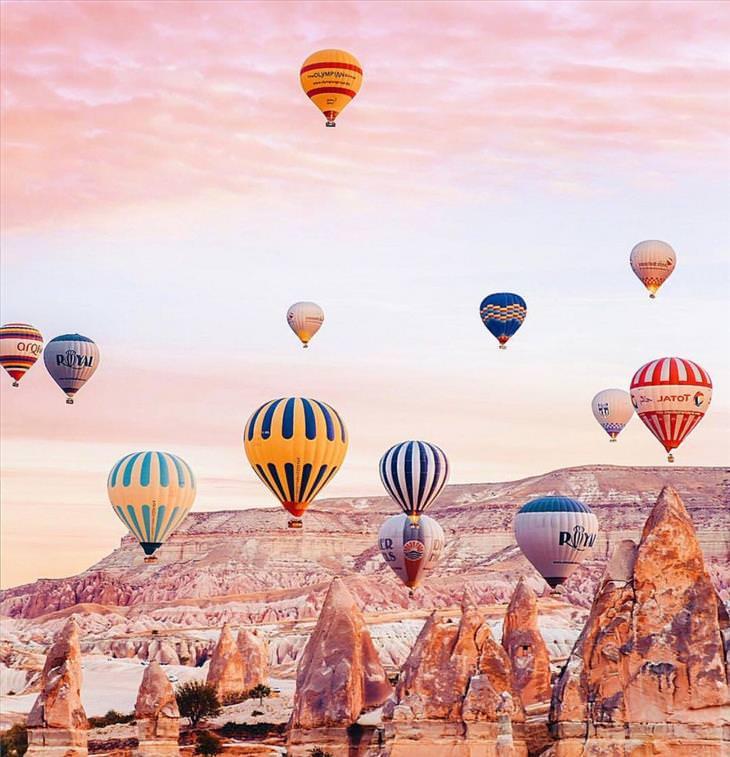 15 fotos inspiradoras de como é voar de balão na Cappadocia