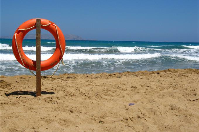 flotation device on beach