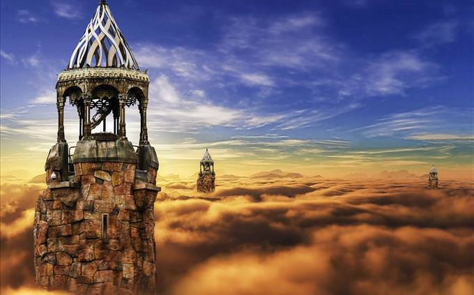fantasy tower in the clouds