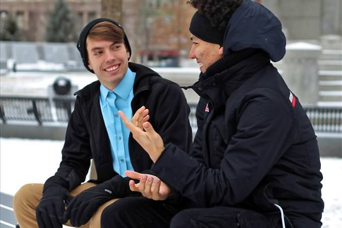 2 young men chatting