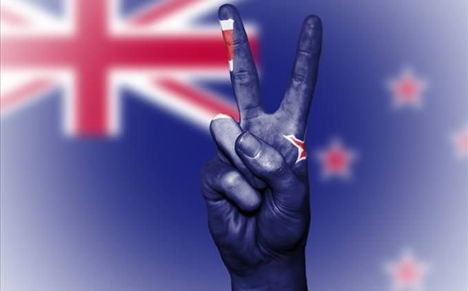 New Zealand flag and peace sign