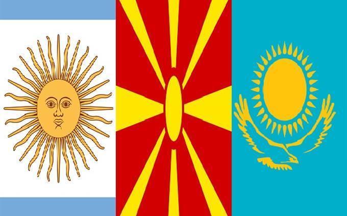 bandeiras da Argentina, Macedônia e Cazaquistão