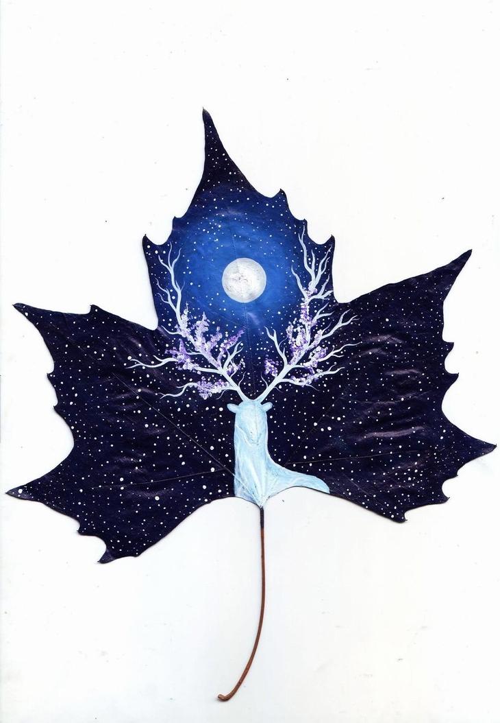 pintura em folhas