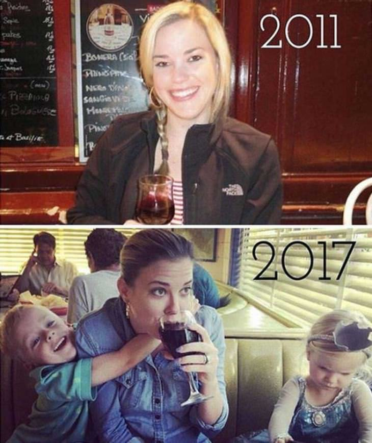 mães e pais antes e depois dos filhos