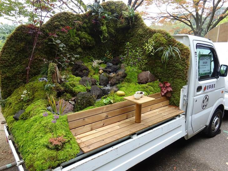 jardins em caminhões