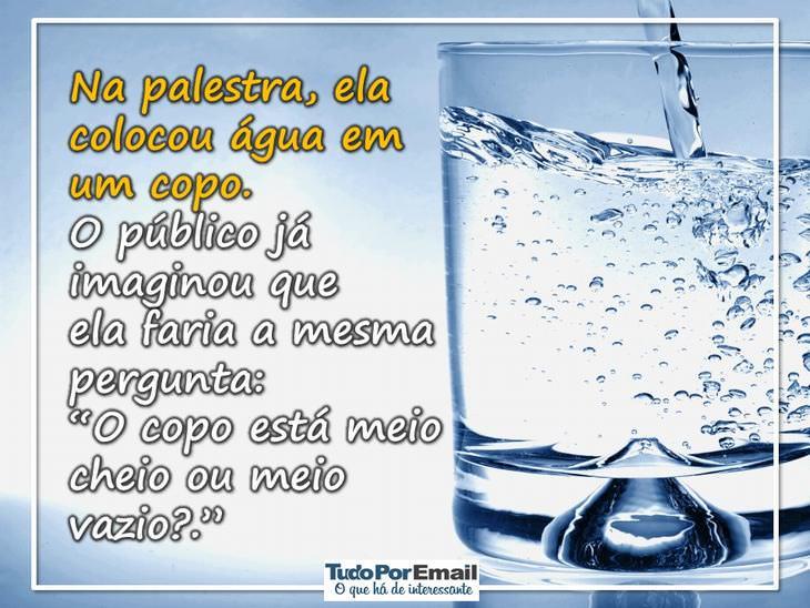 história do copo de água e o estresse espiritualidade