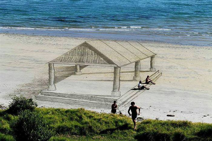 arte, areia, 3D