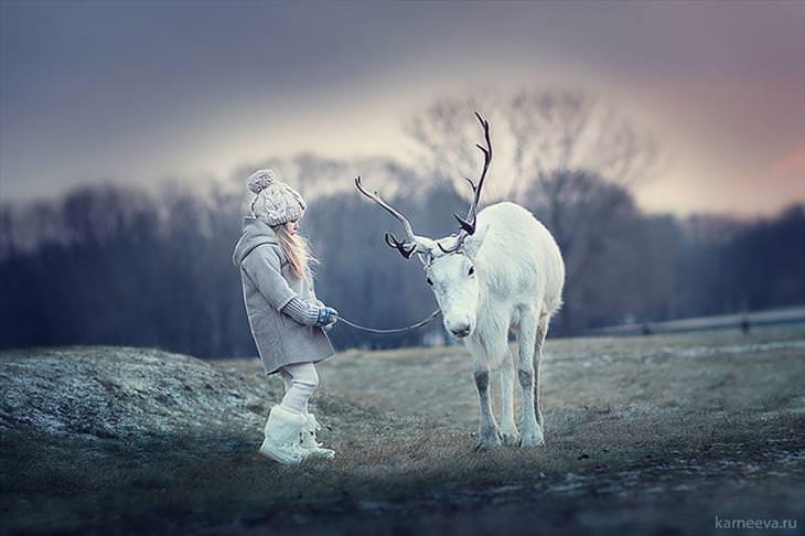 Entre na fotografia mágica da inocência de Elena Karneeva