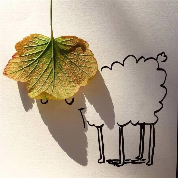 desenhos feitos sobre sombras