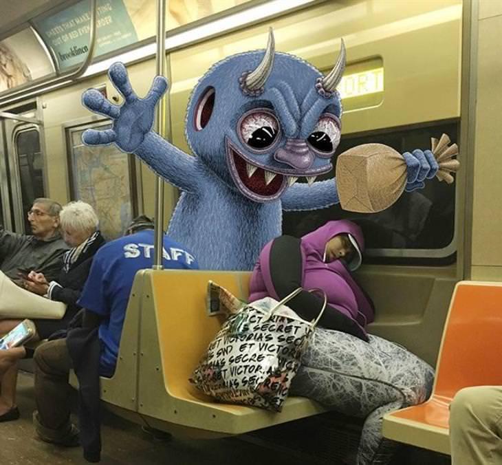 fotos e ilustração no trem