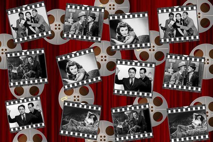 colagem com fotos em preto e branco