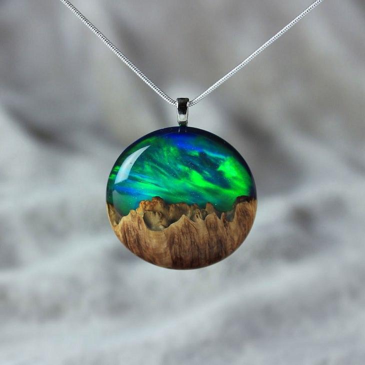 joias de madeira e resina
