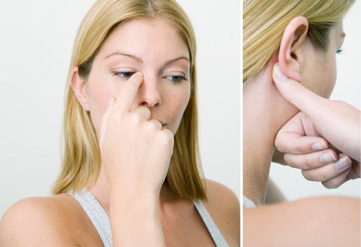 acupressão para nariz entupido