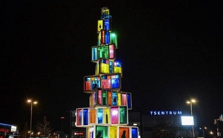 Belíssimas árvores de Natal Rakvere Estonia