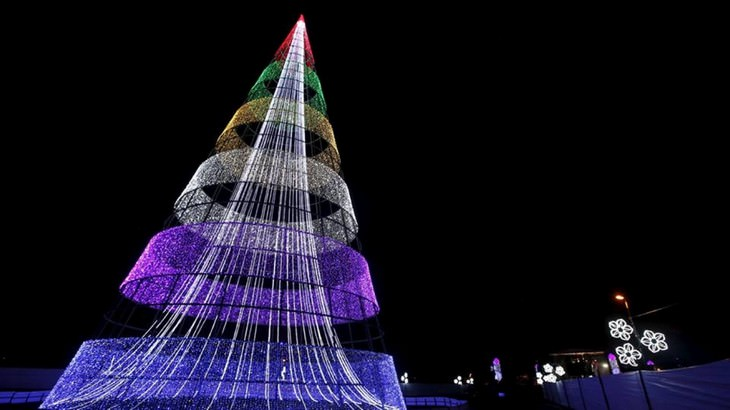 Belíssimas árvores de Natal Bogotá Colômbia