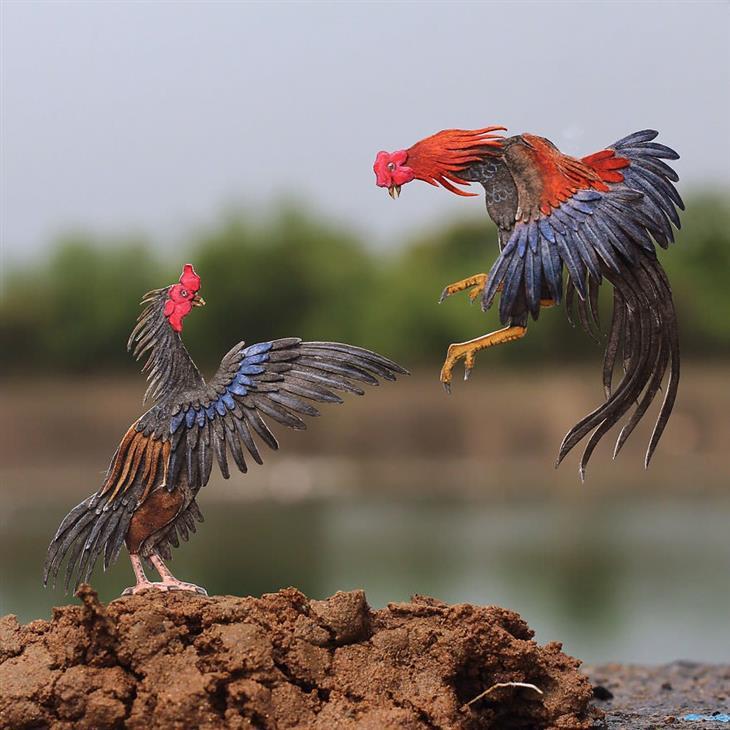 Aves feitas de papel