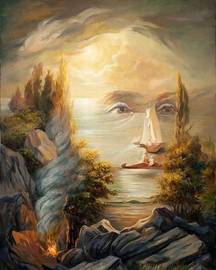retratos com ilusões de ótica