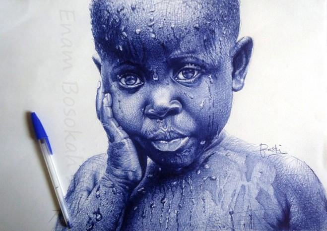retratos feitos com caneta