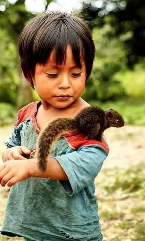 Crianças de Várias Culturas-menino com esquilinho