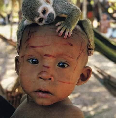 Crianças de Várias Culturas-curumim com macaquinho