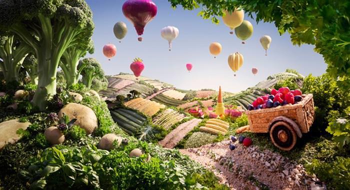 Paisagem de comida  - balões de brócolis