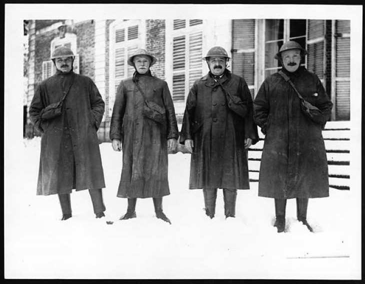 Word War I Inventions miners wearing Trench Coats during WWI