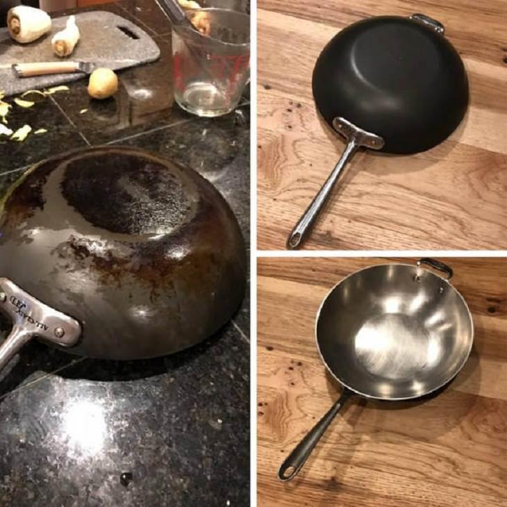 Antes e depois de uma boa limpeza: wok