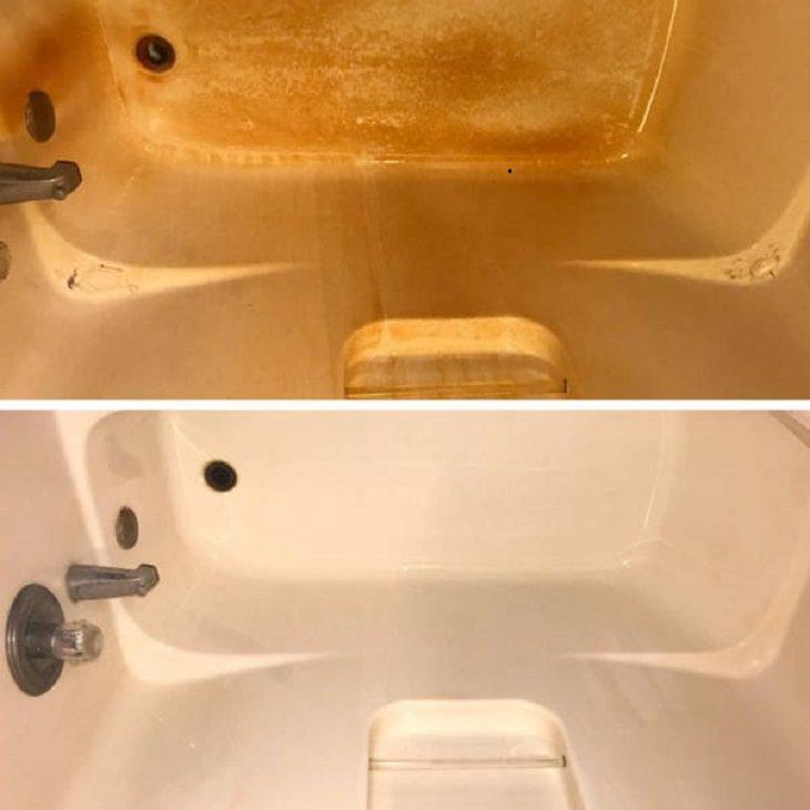 Antes e depois de uma boa limpeza: banheira