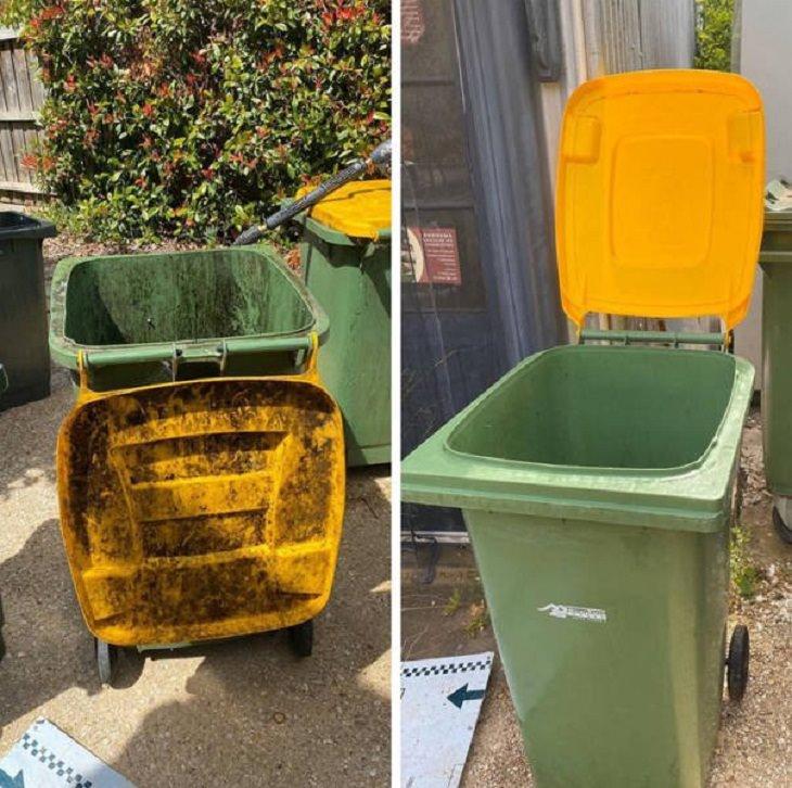 Antes e depois de uma boa limpeza: lata de lixo
