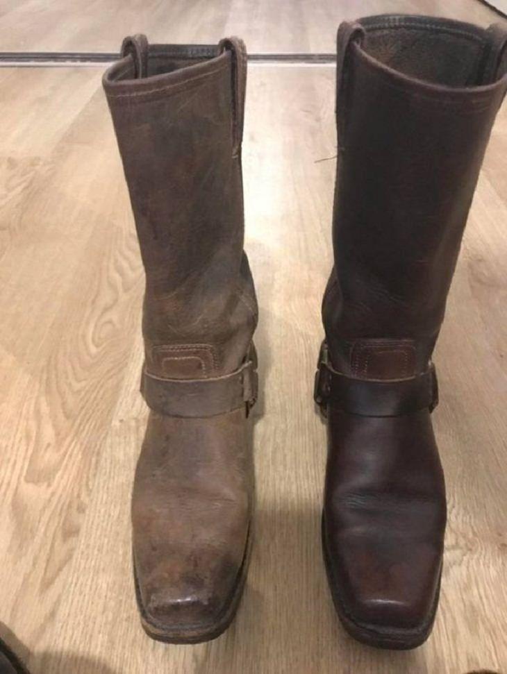 Antes e depois de uma boa limpeza: botas