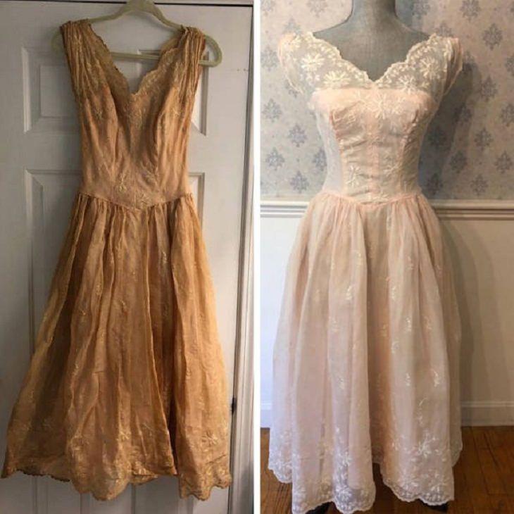 Antes e depois de uma boa limpeza: vestido de noiva