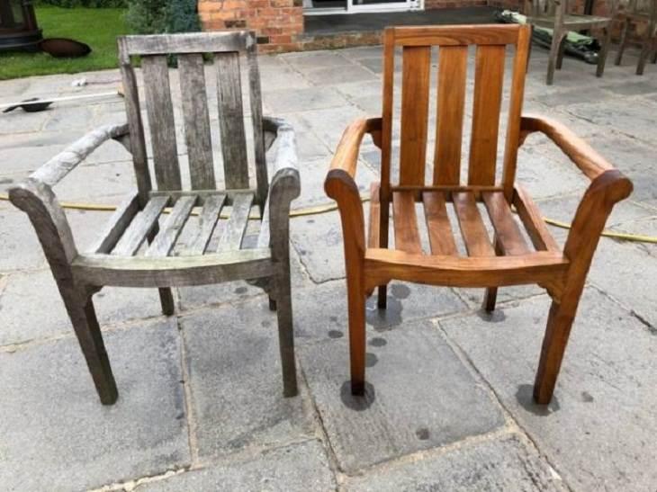 Antes e depois de uma boa limpeza: cadeira