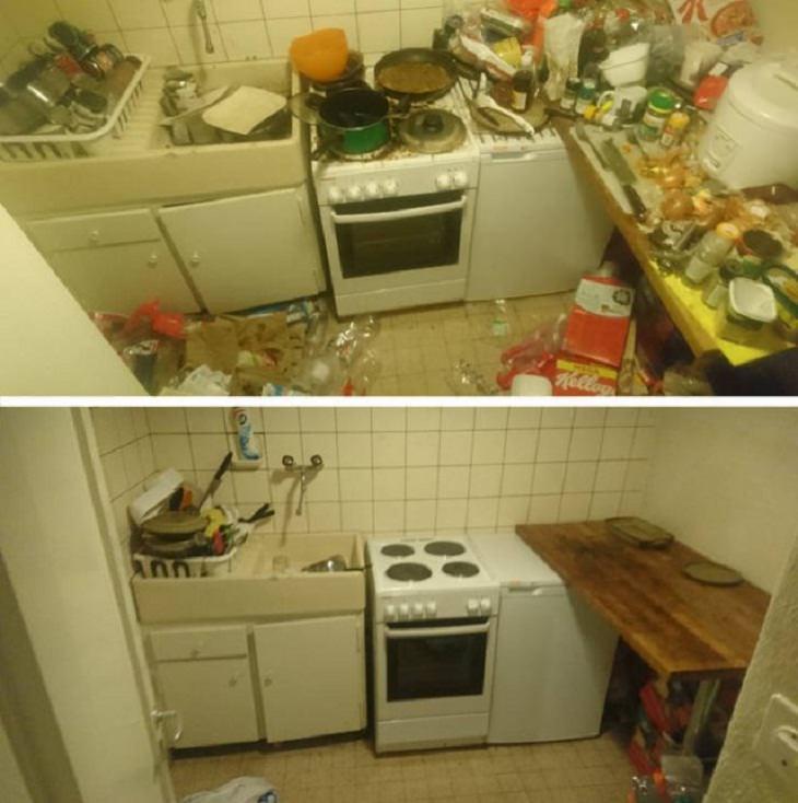 Antes e depois de uma boa limpeza: cozinha