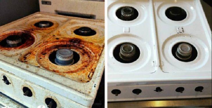 Antes e depois de uma boa limpeza: fogão a gás
