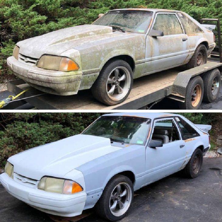 Antes e depois de uma boa limpeza: Mustang