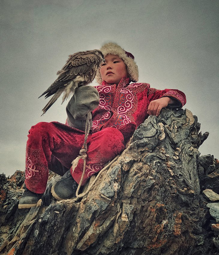 1st Place Portrait,Mona Jumaanfrom Bahrain -A Future Eagle Hunter (Shot inBayan Ulgi, Mongolia)