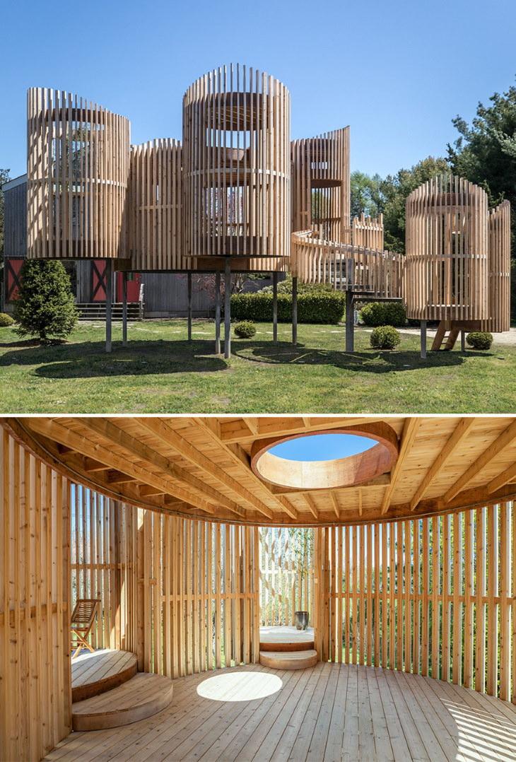 Vencedores do AMP 2020: Melhores em instalações e estruturas, projeto paisagístico: pavilhão externo por Valerie Schweitzer