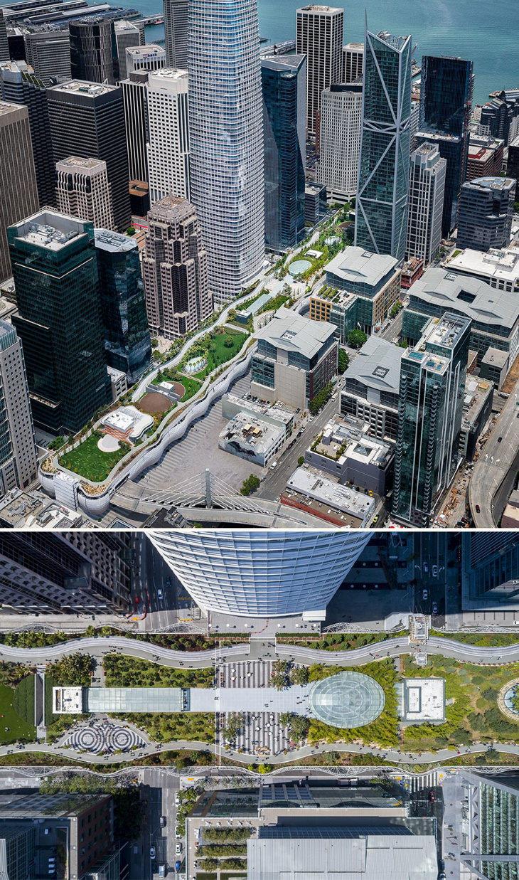 Vencedores do AMP 2020: Melhores em projetos paisagísticos de grande escala: Salesforce Transit Center Park, de Pelli Clarke Pelli Architects, Adamson Associates Architects
