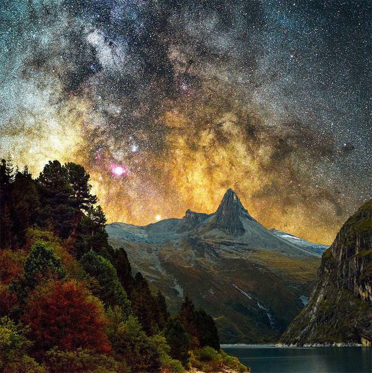 Galáxia de Andrômeda Uma vista do céu da lagoa da montanha de Zervreila na Suíça.