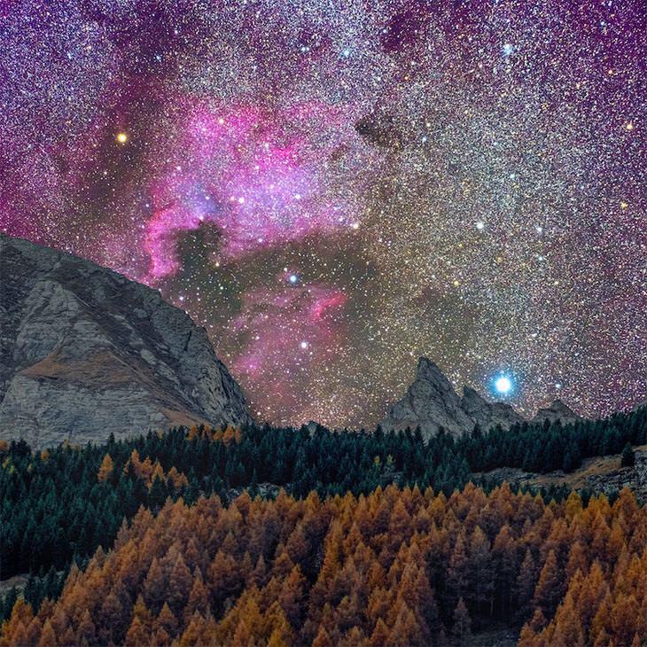 Galáxia de Andrômeda A nebulosa Norte-Americana acima de uma montanha.