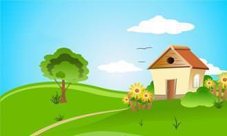 desenho de uma casa no campo com céu azul e com 4 nuvens