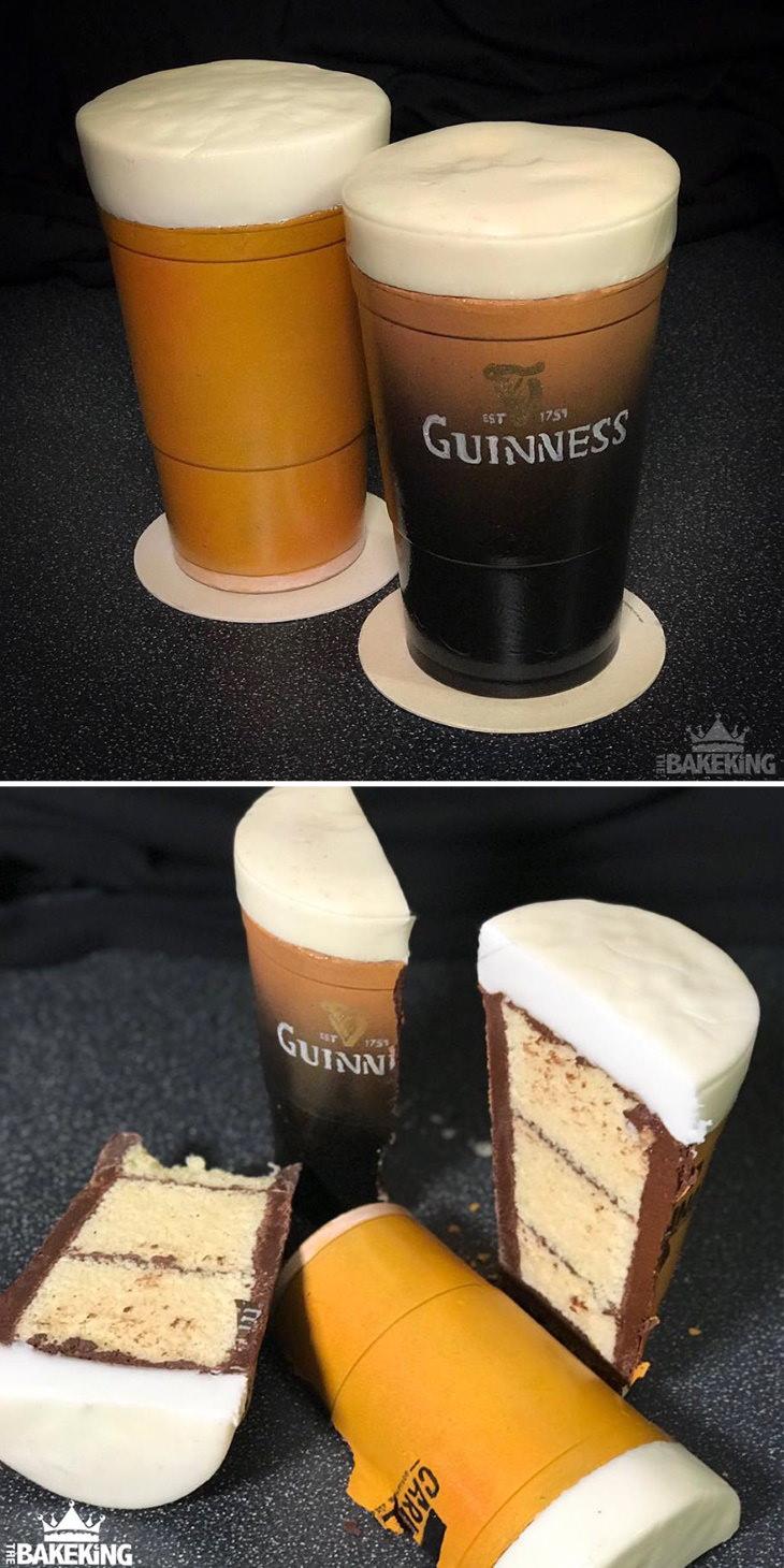 Ilusão de óptica em bolos de Ben Cullen Guiness